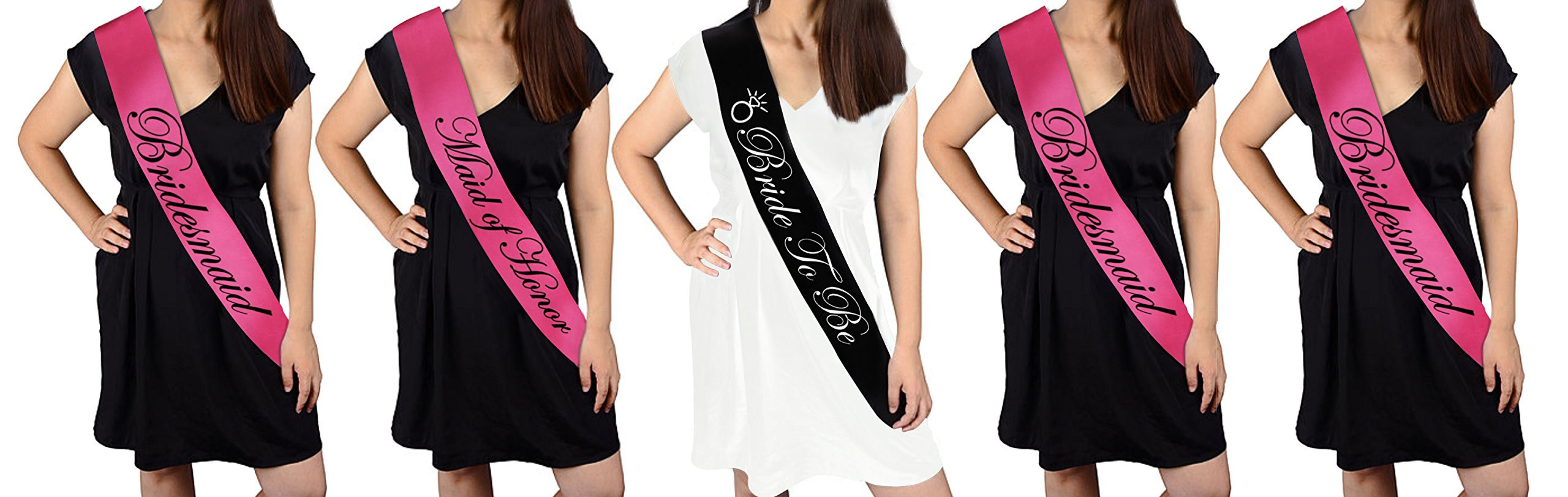 BACHELORETTE PARTY SASH SET(PINK):Bride to be sash,Maid of honor sash,3 Bridesmaid sash/Team Bride free Bride/Bride tribe tattoos, for Bridal shower,Engagement party favors ⊃plies (pink,black)
