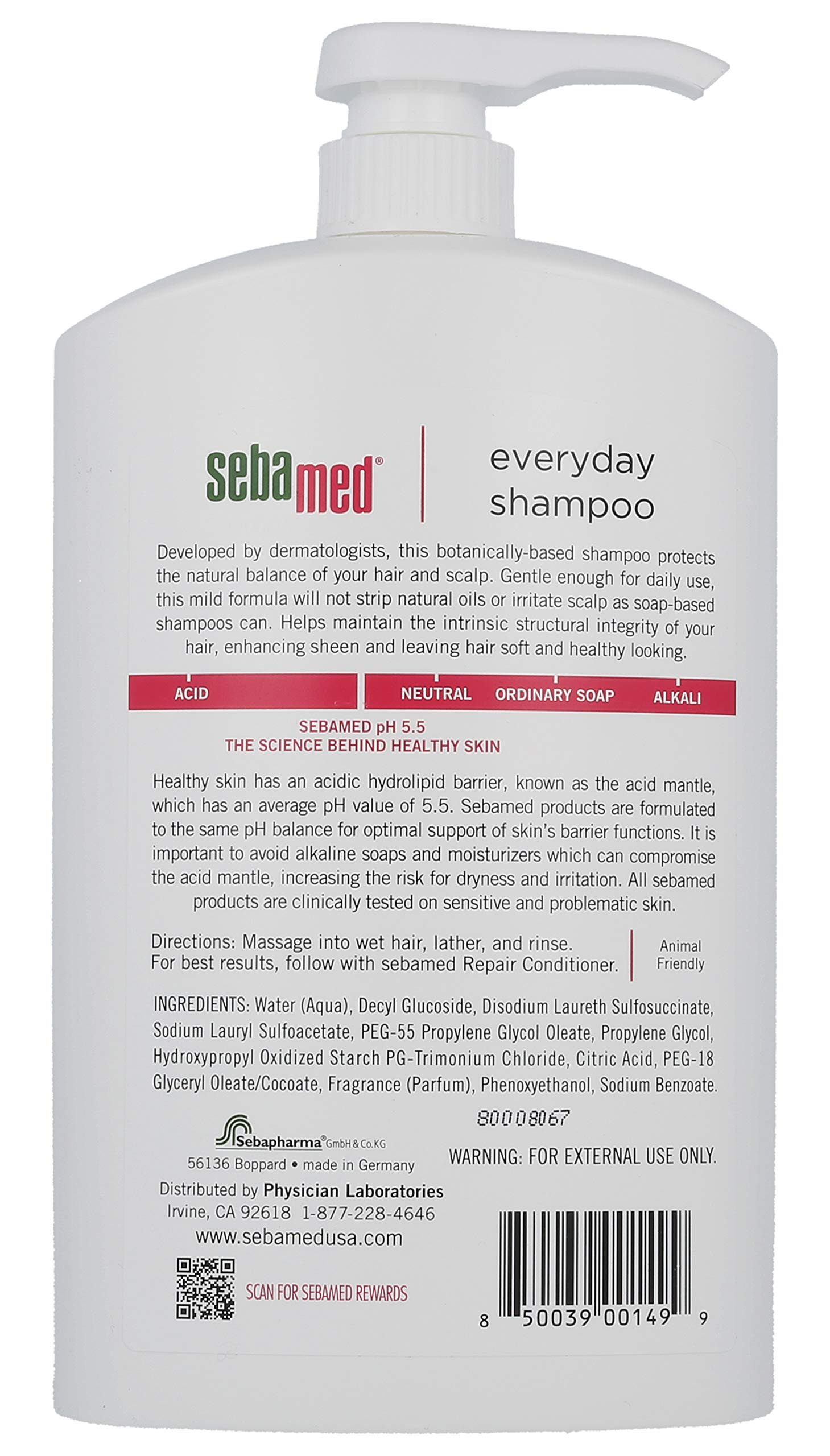 Sebamed Everyday Shampoo for All Hair Types and Sensitive Scalp 33.8 Fl. Oz (1L) Hypoallergenic Dermatologist Recommended pH 5.5 Soap and Alkali Free by SEBAMED (Image #2)