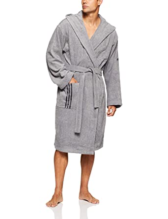 aad83915e4ac80 adidas Erwachsene Bathrobe Us Bademantel, Grey/Carbon, XS