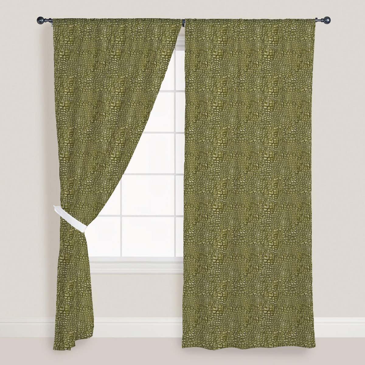 AZ Alligator Hide Door & Window Curtain Satin 4feet x 11feet; SET OF 2 PCS