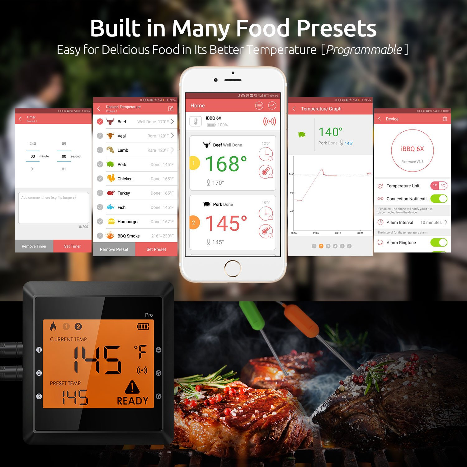 Meat Thermometer Wireless Smart Digital Bluetooth Super Fast Instant Read 6 Long Probes Grill Thermometer, Phone App Wifi Remote Food Thermometer for Kitchen Cooking Food BBQ Grill Candy Smoker ( IOS & Android )