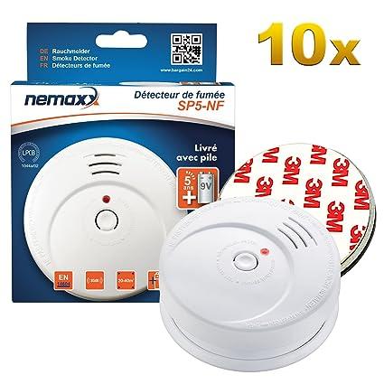 10x Detector de Humo Nemaxx SP5-NF Blanco - Detector de Humo Sensible tecnología fotoeléctrica