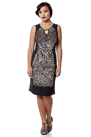 gatsbylady london Farah Leopard Print Bodycon Dress In Black/Brown (S/M)