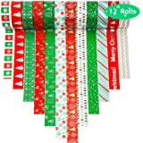 12 Rolls Christmas Washi Tapes 15mm Wide Masking Tape for Scrapbooking DIY Crafts
