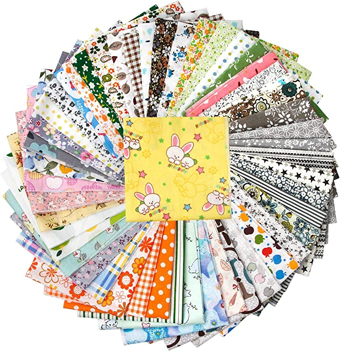 Amazon.com: 50 Pieces 9.8 inches x 9.8 inches (25cm x 25cm), Handmade Fabric, Hand Stitching Cotton Craft Fabric Square Patchwork DIY Sewing Scissors, no Repeat Design Printing