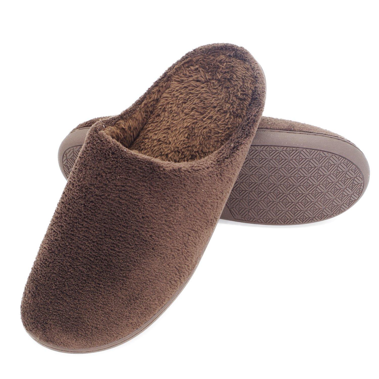 Brown Maizun Women Men House Slippers Plush Non-Slip Cotton Lightweight Home shoes Washable Slide Indoor Slipper