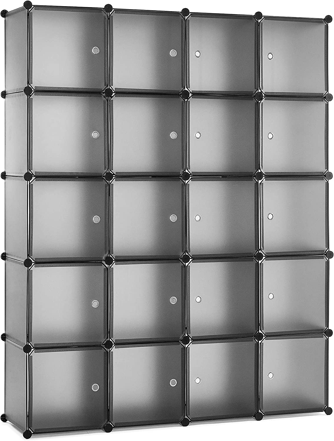 Meerveil Portable Interlocking Plastic Wardrobe Cabinet, Transparent Cube Storage Organizer for Hanging Clothes, Modular Cabinet for Clothes, Shoes, Toys and Books (20 cubes)