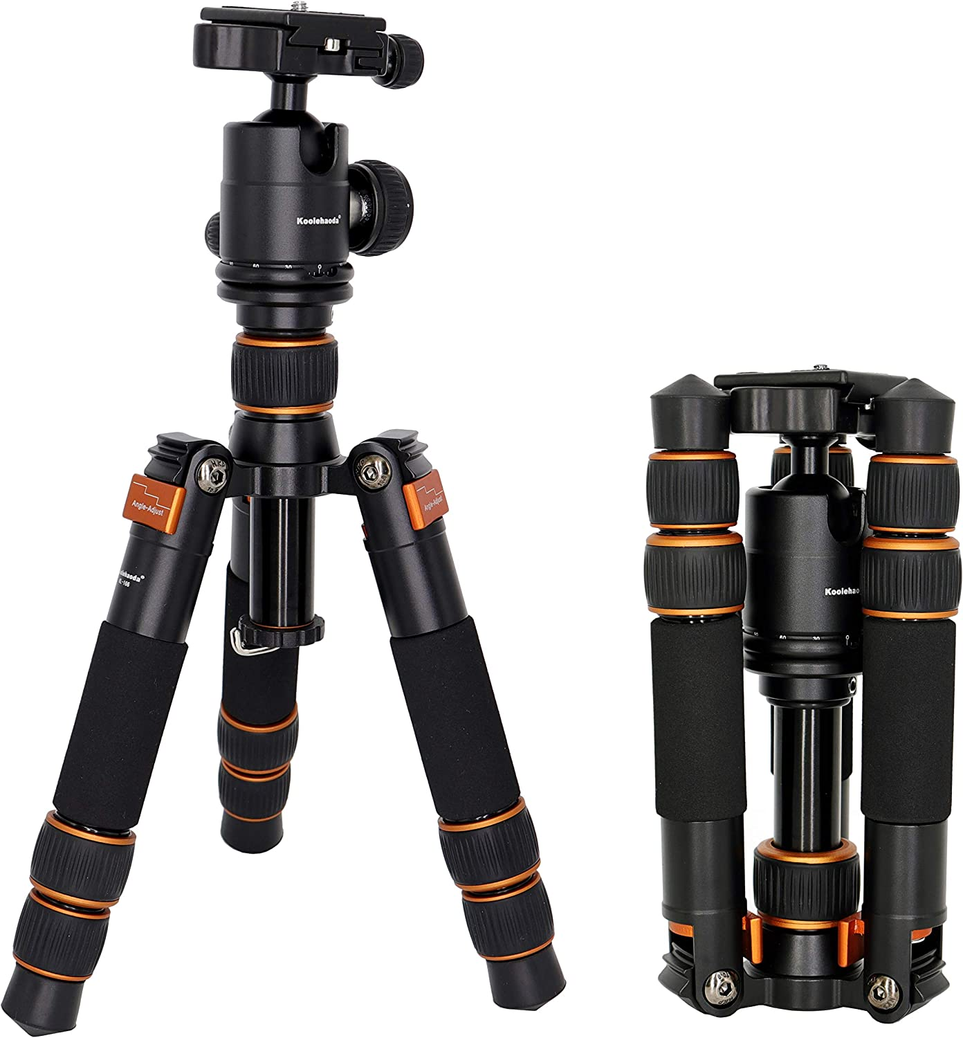 koolehaoda SL-166 Travel Portable Mini Tripod with Ball Head for DSLR Camera (SL-166 Mini triod) Orange