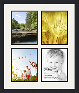 arttoframes collage photo frame double mat with 4 8x10 openings and satin black frame
