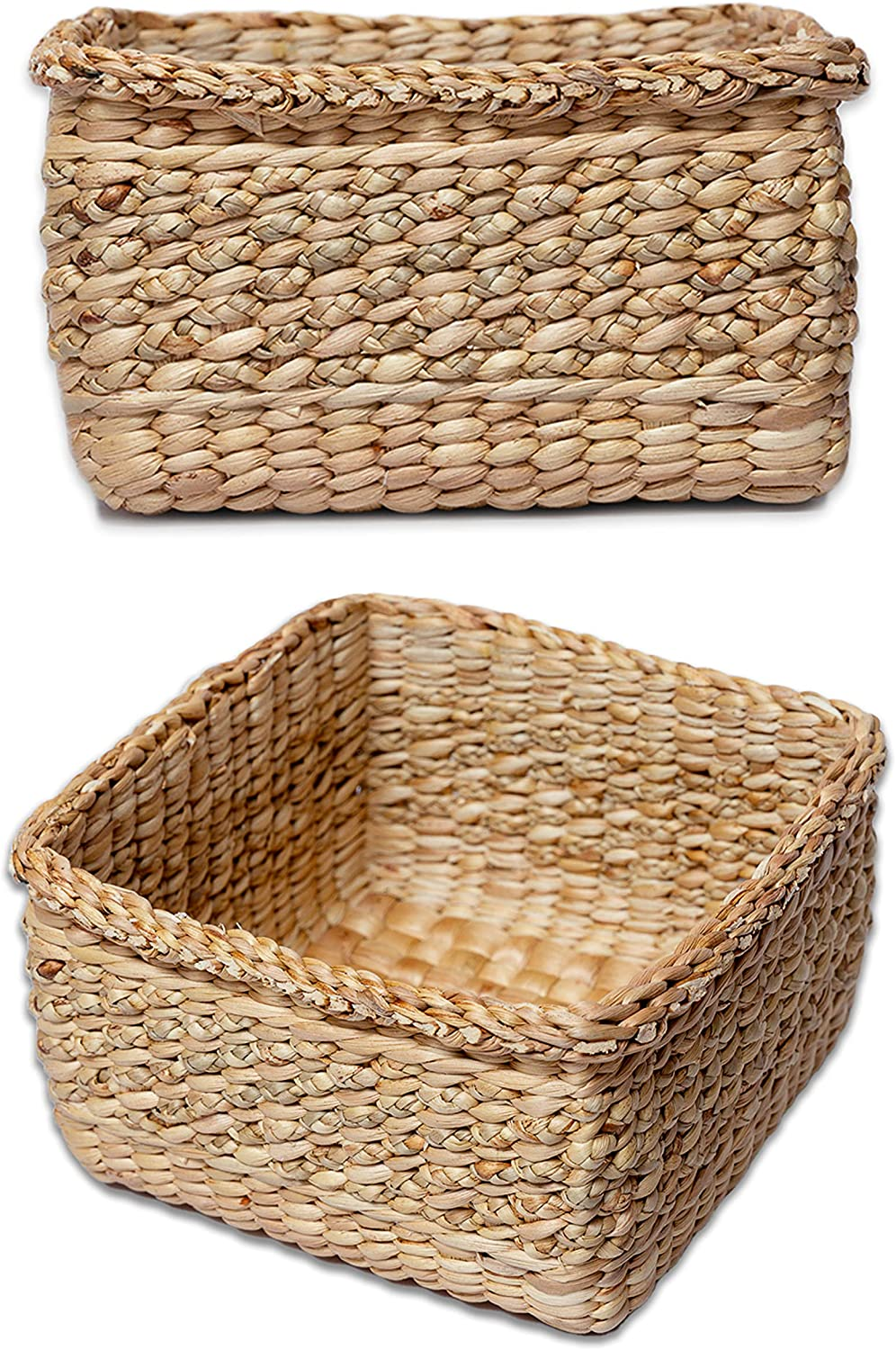 Nesar Hyacinth Water Wicker Storage Baskets Set for Organizing, Shelves and Home Decoration Set of 2 ( Medium & Small)