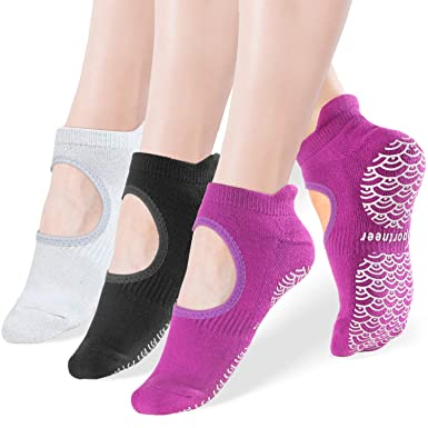 Yoga Socks for Women Non Slip Socks with Wave Grips, Anti-Skid for Pilates, Barre, Ballet, Dance, Barefoot Workout Fitness Hospital Socks,3-Pack,Size ...