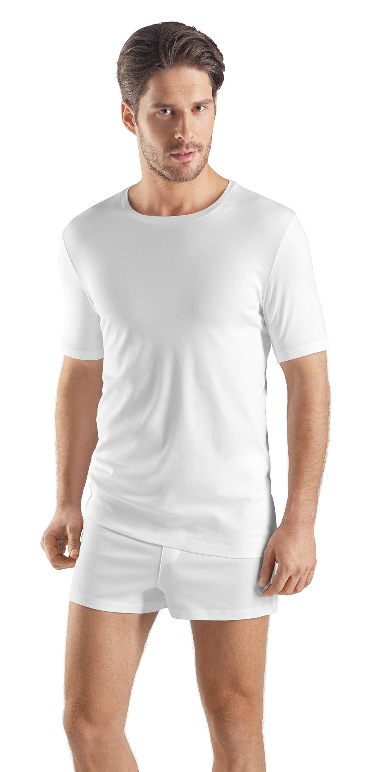 Hanro Men's Sea Island Cotton Short Sleeve Crew Neck 73174, White, Large