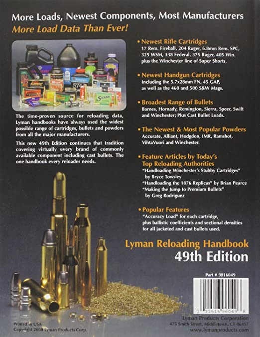 amazon com lyman 49th edition reloading handbook gunsmithing rh amazon com