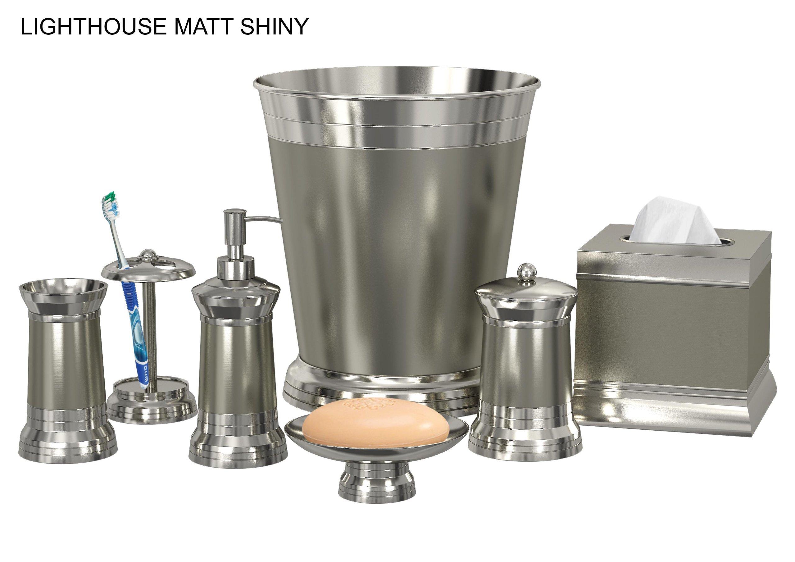 nu steel Lighthouse Matt Shiny 8-Piece Bath Accessories Set