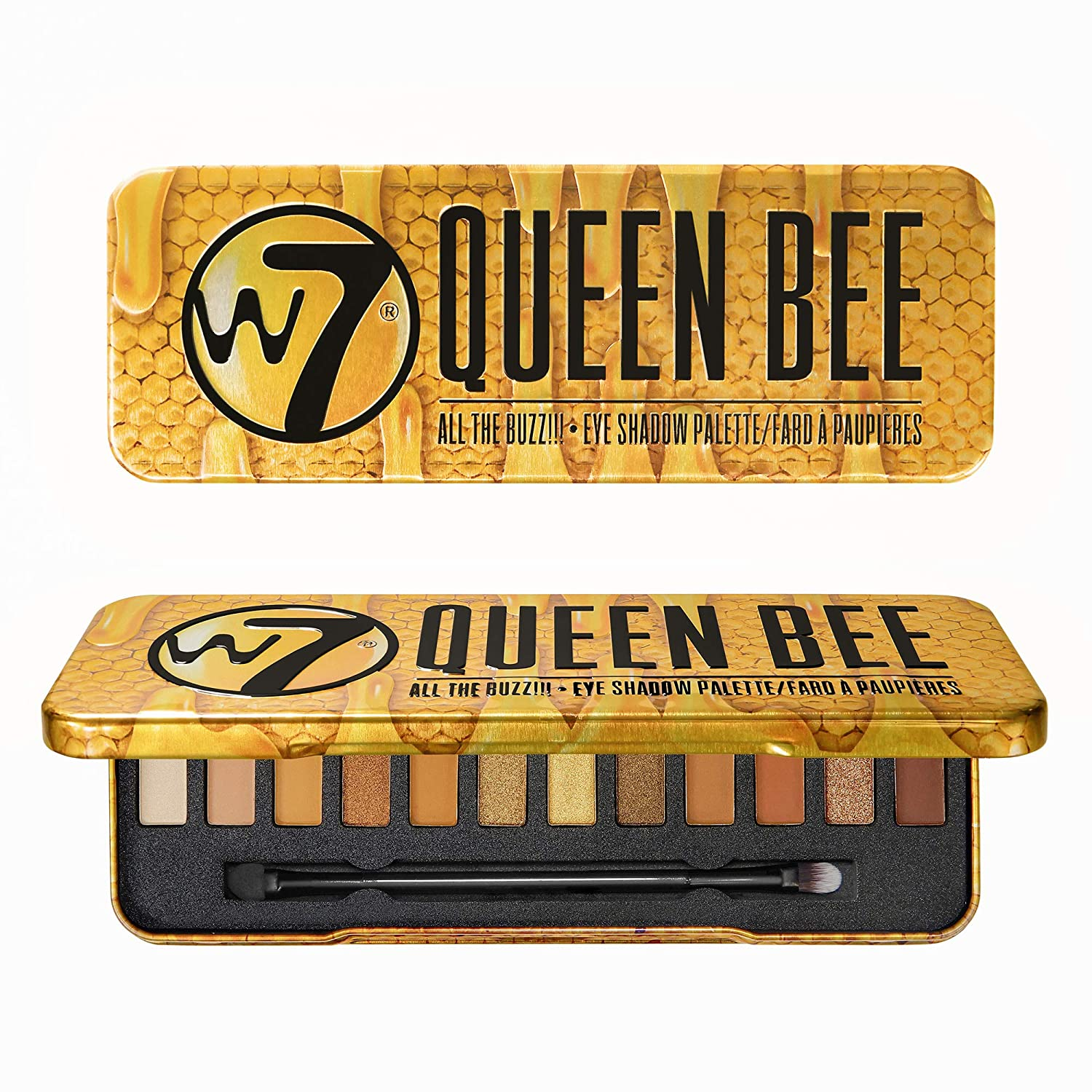 W7 | Queen Bee Eyeshadow Makeup Palette | Tones: Creamy Mattes and Shimmer Metallics | Colors: Golds, Browns, Coppers, Nudes | Cruelty Free Eye Makeup For Women by W7 Cosmetics