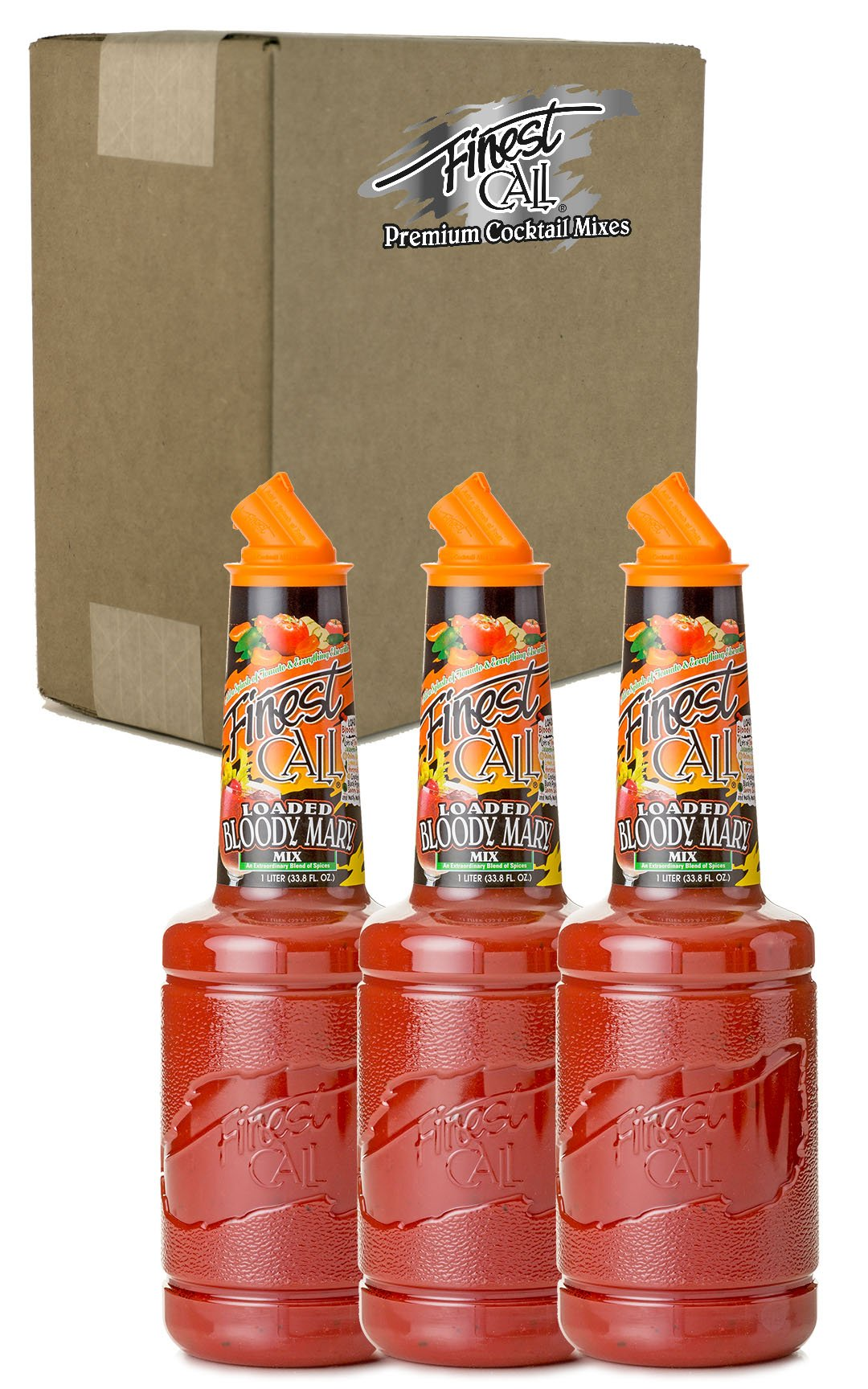 Finest Call Premium Loaded Bloody Mary Drink Mix, 1 Liter Bottle (33.8 Fl Oz), Pack of 3