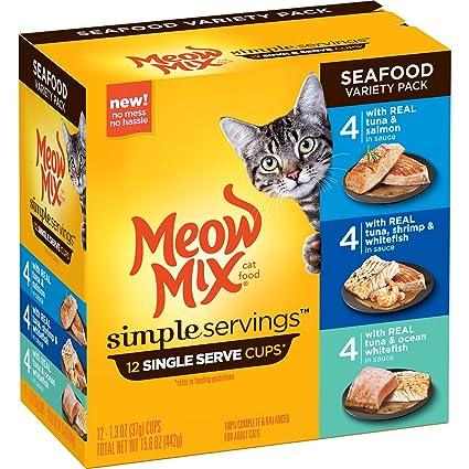de3c0129b821 Amazon.com   Meow Mix Simple Servings Seafood Variety Pack Wet Cat ...