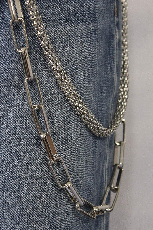 Men Silver Classic Chunky Mesh Metal Wallet Chain Biker Jeans Big Strand Premium #ID-1234