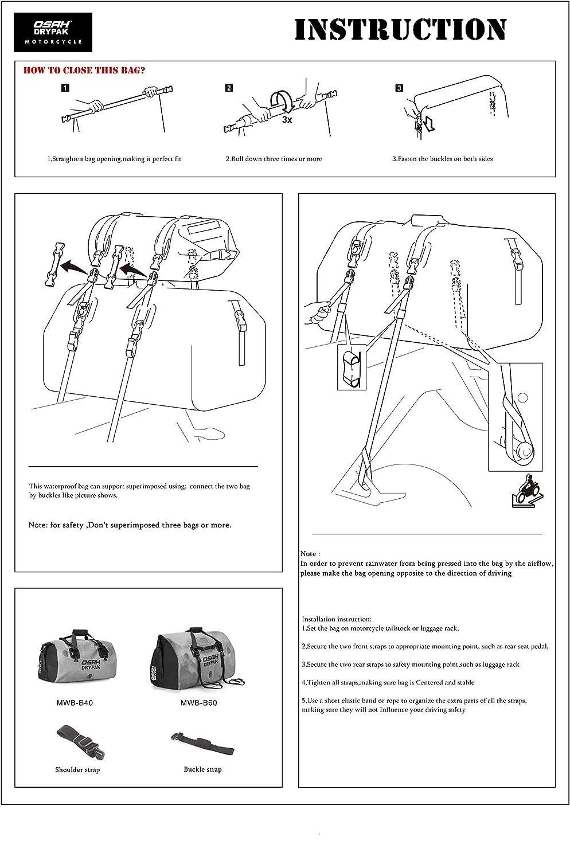 Motocicleta 1000D PVC Impermeable Reflectante Cola Bolsa Silla Equipaje Accesorios al Aire Libre Negro 40L