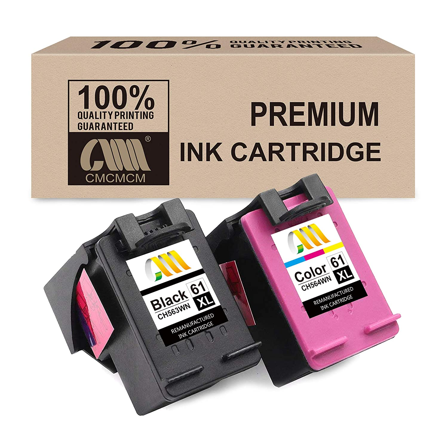 CMCMCM Remanufactured Ink Cartridge Replacement for HP 61 XL 61XL Combo Pack for OfficeJet 4630 4635 Envy 5530 4500 4502 DeskJet 2540 3050 3510 3512 1000 1512 1513 2050 2542 3000 Printer ( Ink Level Display)