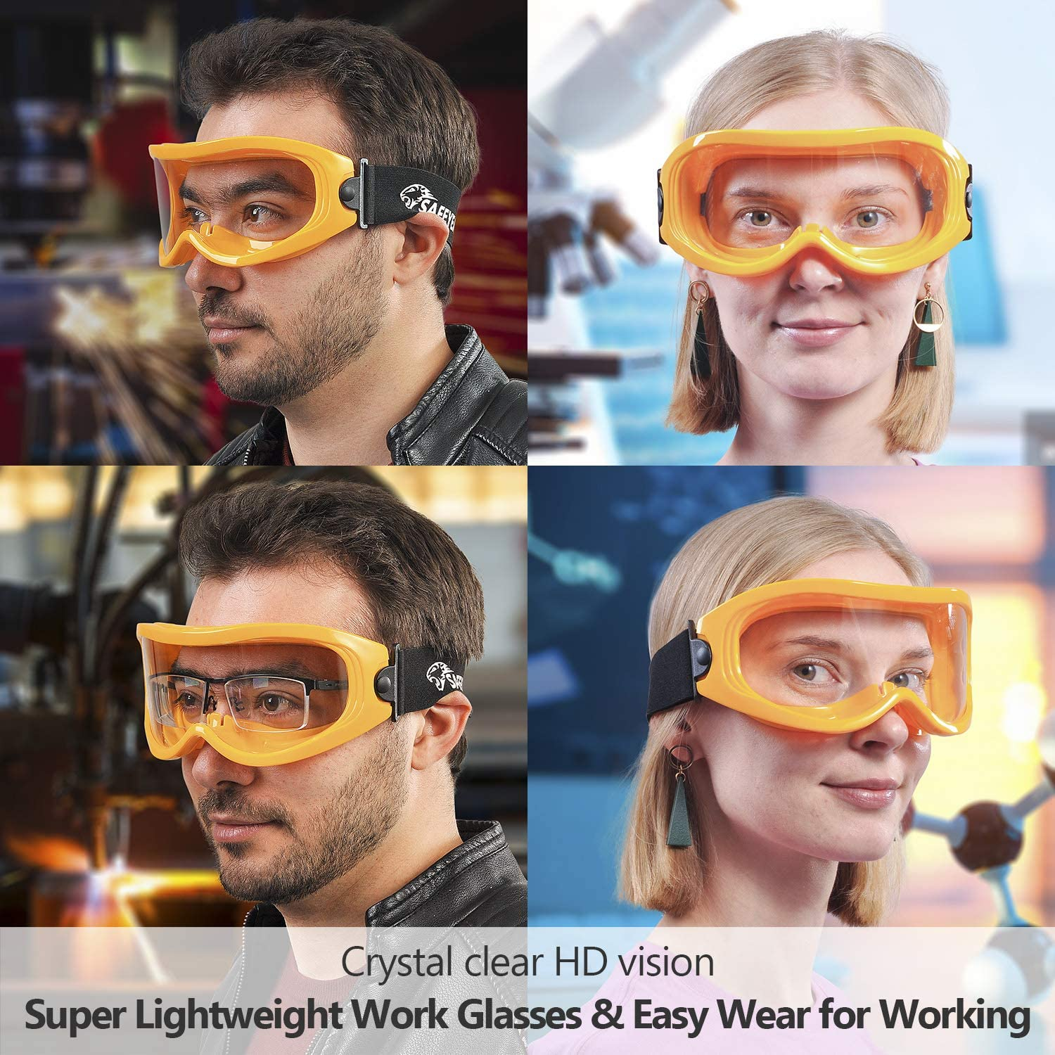 Safeyear Anti Fog Safety Goggles Eye Impacted Sealed Protective Work Goggles Over Spectacles for DIY Lab SG007 Scratch Resistant /& UV Protection Safety Glasses for Men Grinding Welding Cycling SG-007