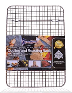 "KITCHENATICS 100% Stainless Steel Wire Cooling and Roasting Rack Fits Quarter Sheet Size Baking Pan, Oven Safe, Commercial Quality, Heavy Duty for Cooking, Roasting, Drying, Grilling (8.5"" X 12"")"