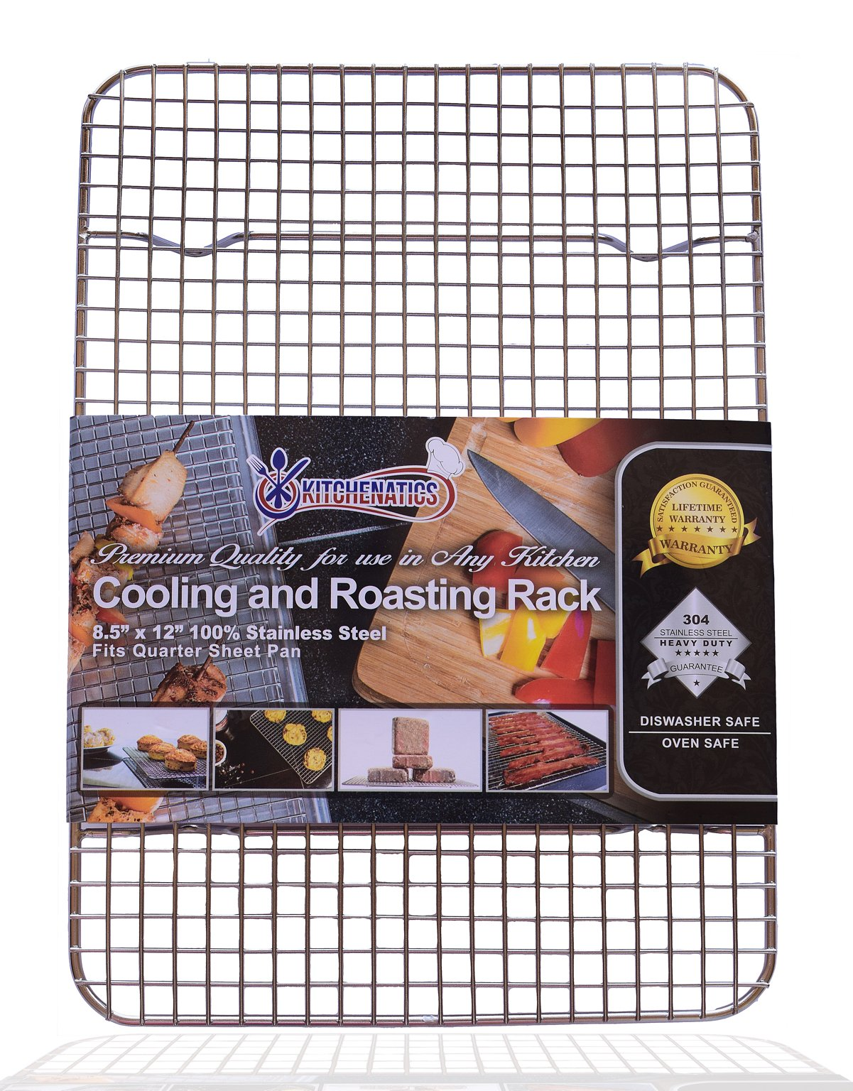 "KITCHENATICS Professional Grade Stainless Steel Cooling and Roasting Wire Rack Fits Half Sheet Baking Pan for Cookies, Cakes Oven-Safe for Cooking, Smoking, Grilling, Drying - Heavy Duty Rust-Proof 1 COMMERCIAL GRADE 304 (18/8) STAINLESS STEEL cooling rack, RUST RESISTANT, NONTOXIC and DISHWASHER_SAFE for long-lasting durability. SUPREME DURABILITY with 1-INCH (1"") IN HEIGHT for optimal airflow, allows air to circulate around all sides of the pan for absolutely perfect cooking and cooling. OVEN-SAFE to 575˚F for effective roasting, and best for grilling, baking, broiling, smoking, bbq and drying. There is no need to flip your food while cooking. You will get a crisp and juicy chicken, bacon, turkey, pulled pork, bbq ribs and other meat and vegetable dishes without any sweating."