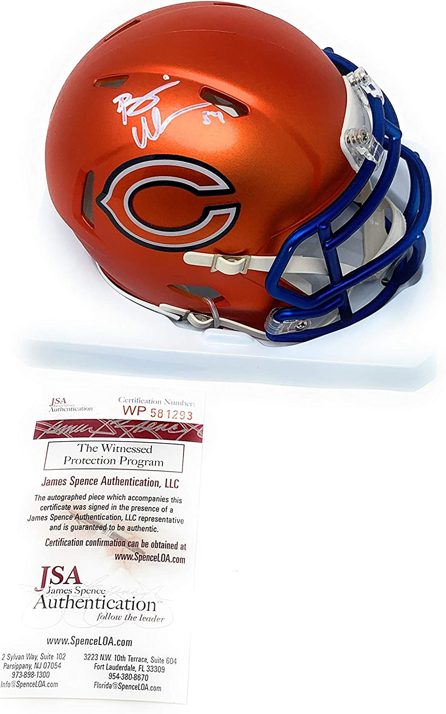 Brian Urlacher Chicago Bears Signed Autograph Blaze Speed Mini Helmet JSA Witnessed Certified