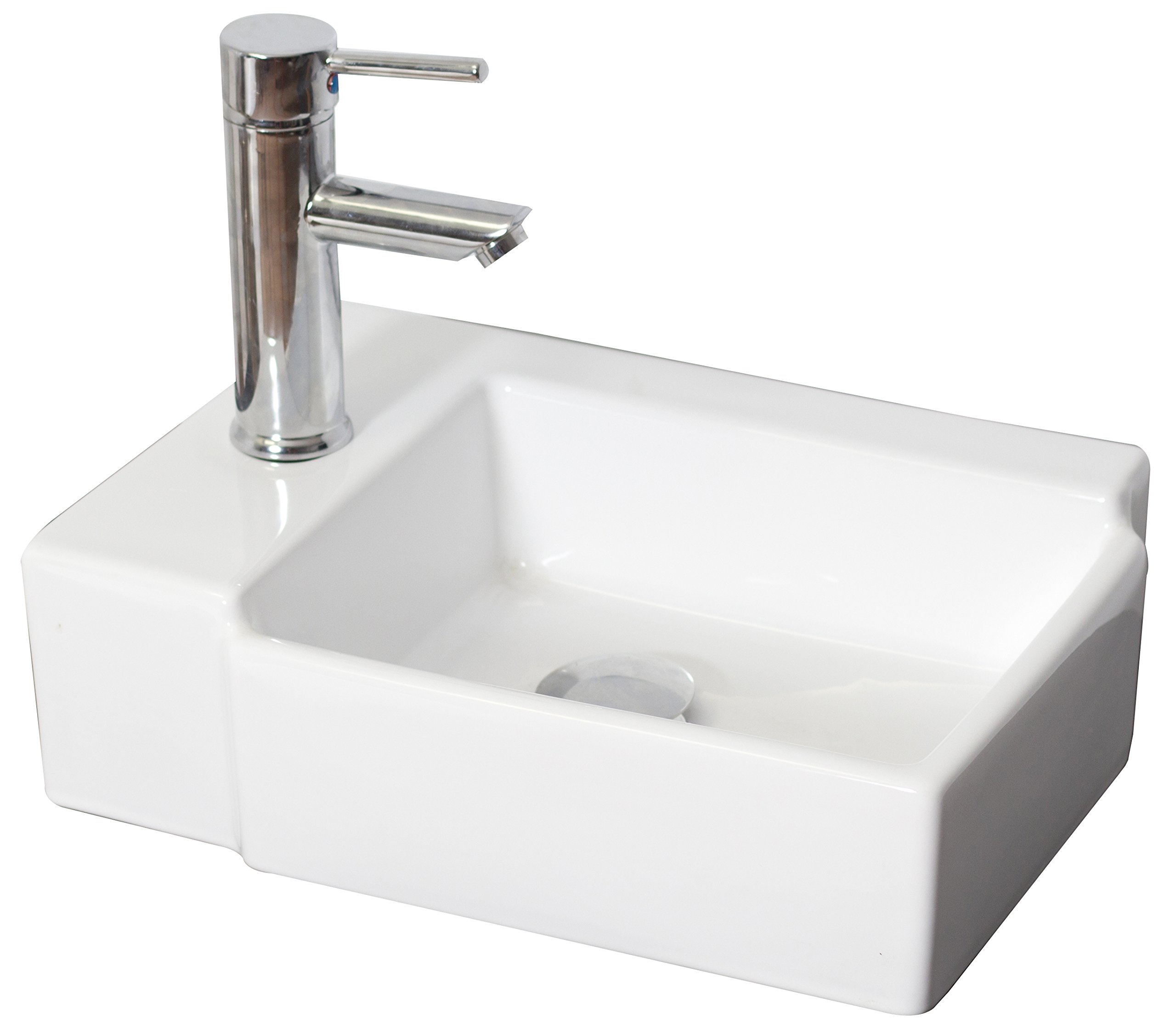 American Imaginations AI-4-1301 Above Counter Rectangle Vessel for Single Hole Faucet, 16.25-Inch x 12-Inch, White by American Imaginations