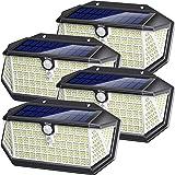 Biling Solar Lights Outdoor 266 LED with Lights Reflector, IP65 Waterproof Solar Motion Sensor Security Lights, 3 Modes Wirel