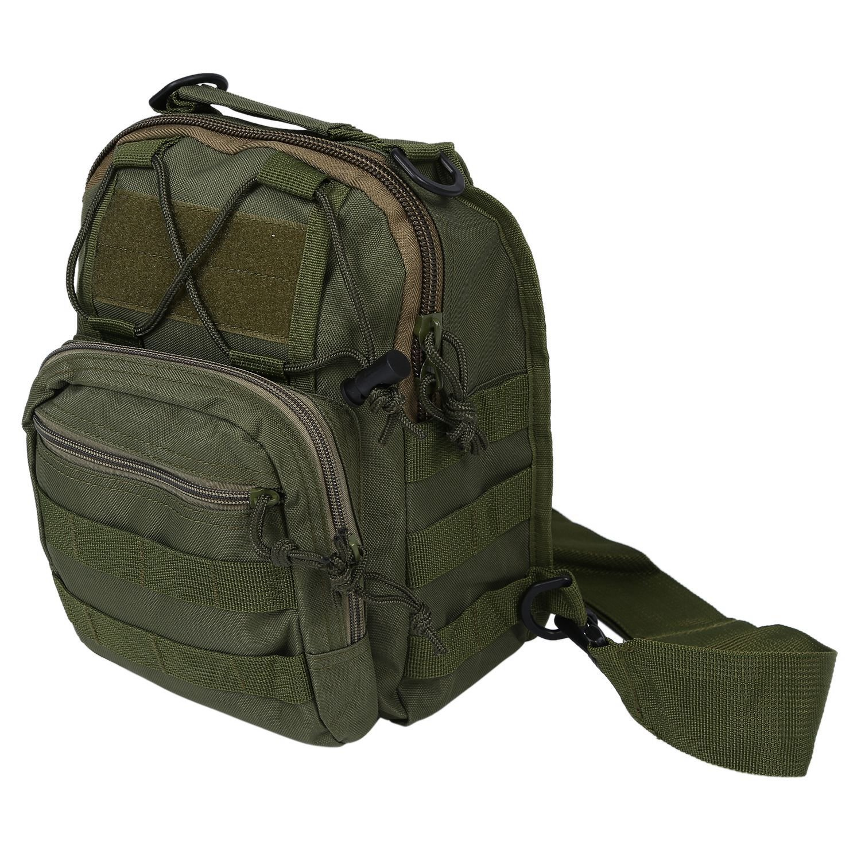 SODIAL(R) Military Tactical Shoulder Backpack Soft Rucksack Hiking Trekking Bag Army Green