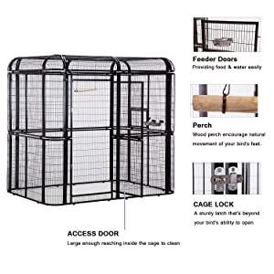 wonline Large Walk in Bird Cage, with Cover Top Parakeet Finch Budgie Conure Lovebird Aviary Pet House Heavy Duty Black (Color: Black Cage & Green Cover)