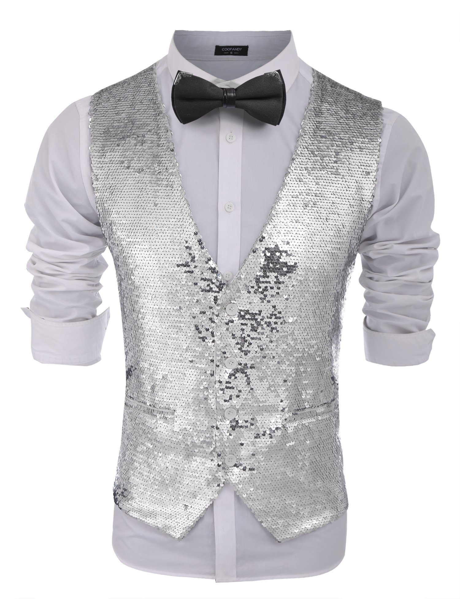 COOFANDY Men's Fashion Shiny Sequins Vests Halloween Christmas Slim Fit Stitching Vest(Silver, XXL) by COOFANDY
