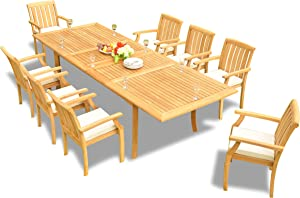 """9-pc Outdoor Teak Dining Furniture Set: 117"""" Rectangle Extension Table & 8 Somer Arm Chairs"""