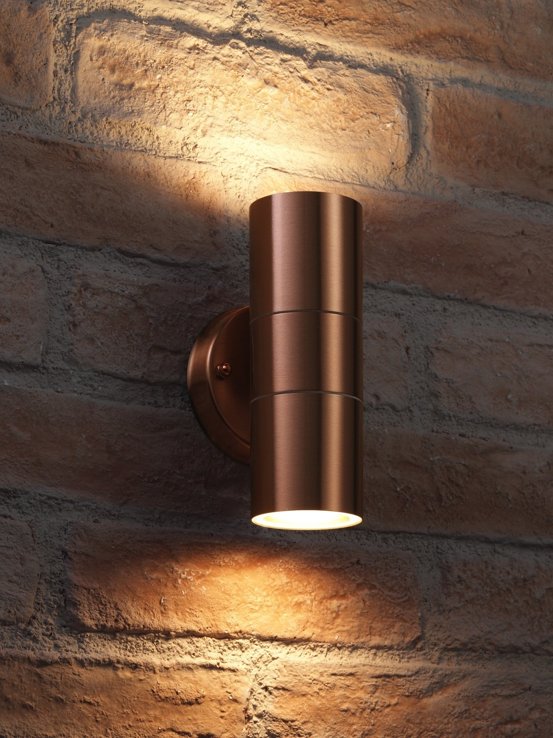 Auraglow Stainless Steel Indoor/Outdoor Double up & Down Wall Light - Warm White LED Bulbs Included - Copper Finish [Energy Class A+]