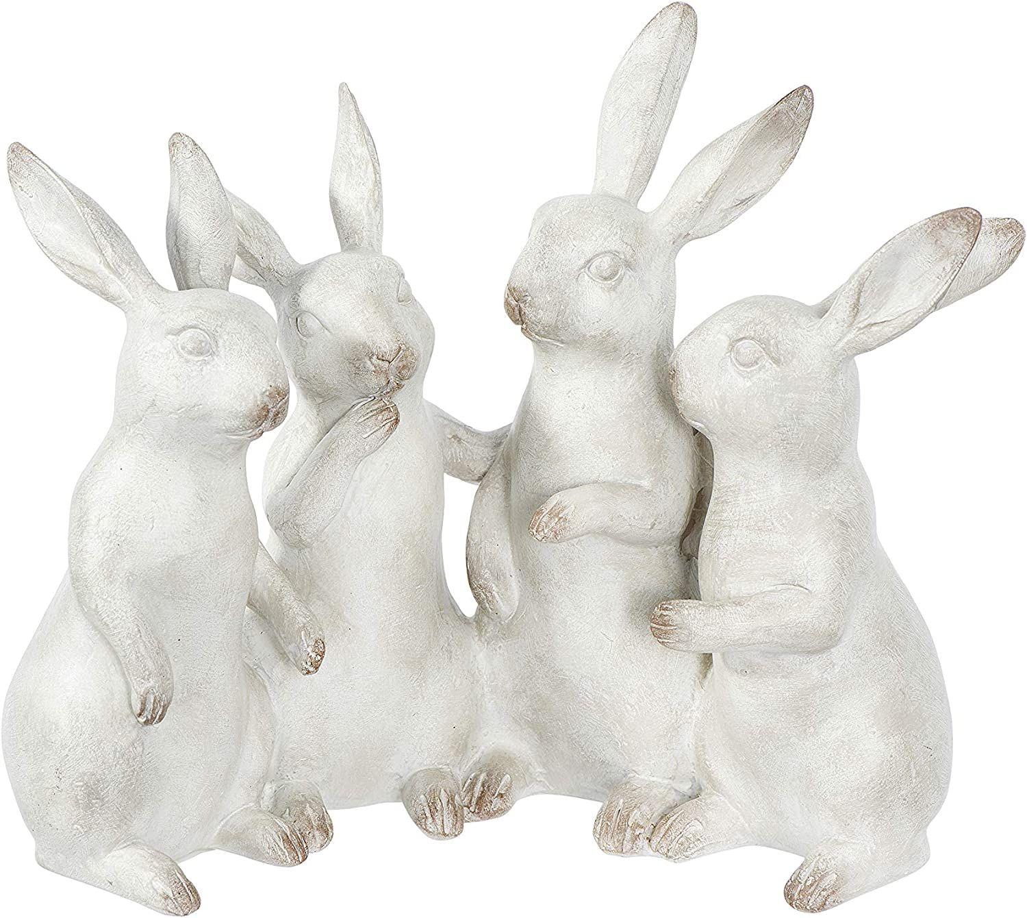 Creative Co-op Whitewashed Polyresin Bunny Rabbit Quartet Figures and Figurines, White