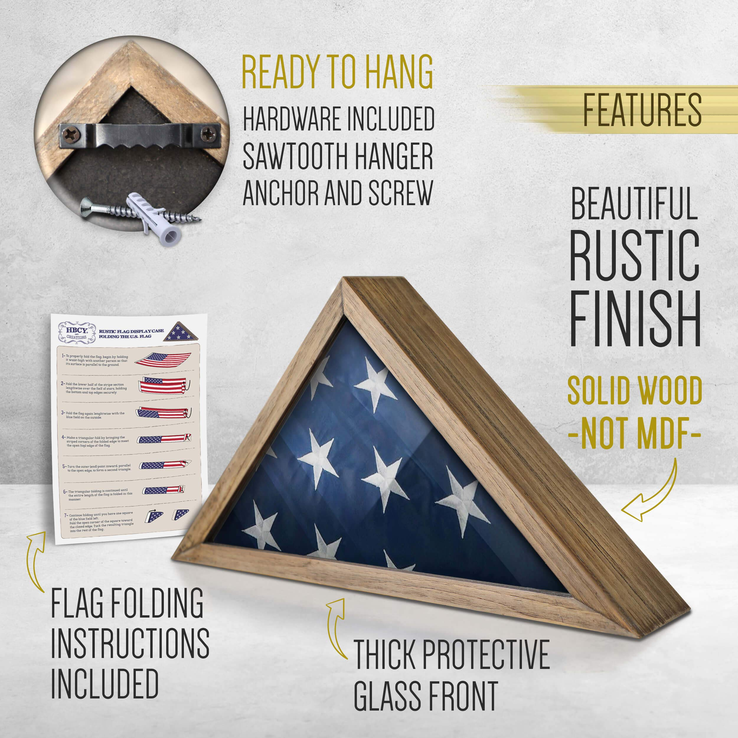 Rustic Flag Case - SOLID WOOD Military Flag Display Case for 9.5 x 5 American Veteran Burial Flag, Wall Mounted Burial Flag Frame, - Flag Shadow Box to display folded flag. (Weathered Wood) by HBCY Creations (Image #2)