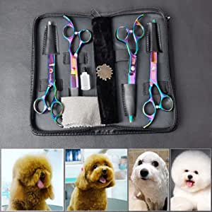 "4PCS 7"" Professional Plated Sharp Edge PET DOG Grooming Hair Scissors Shears Kit"