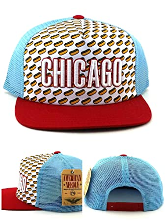 American Needle Chicago New City of Chicago Style Hot Dogs Era Blue Red  Mesh Snapback Hat 314be3caad4