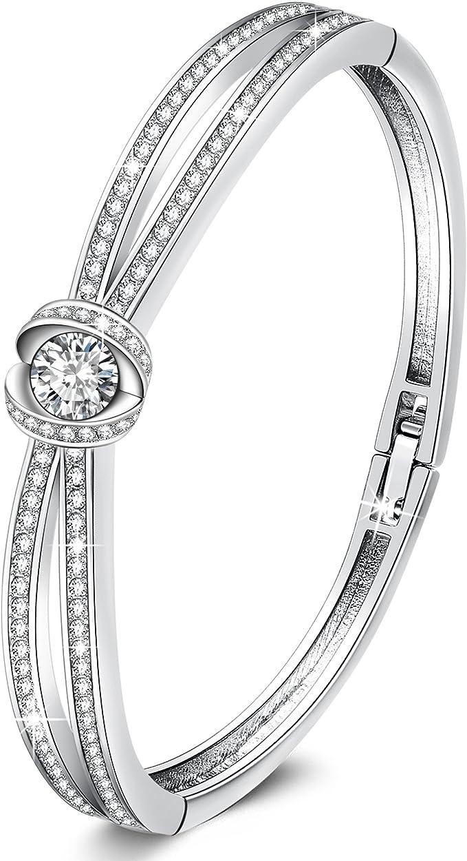 "Slip On 8/"" 925 Stoneless Silver Plated Bangle Bracelet /& Box Women Birthday Gift"