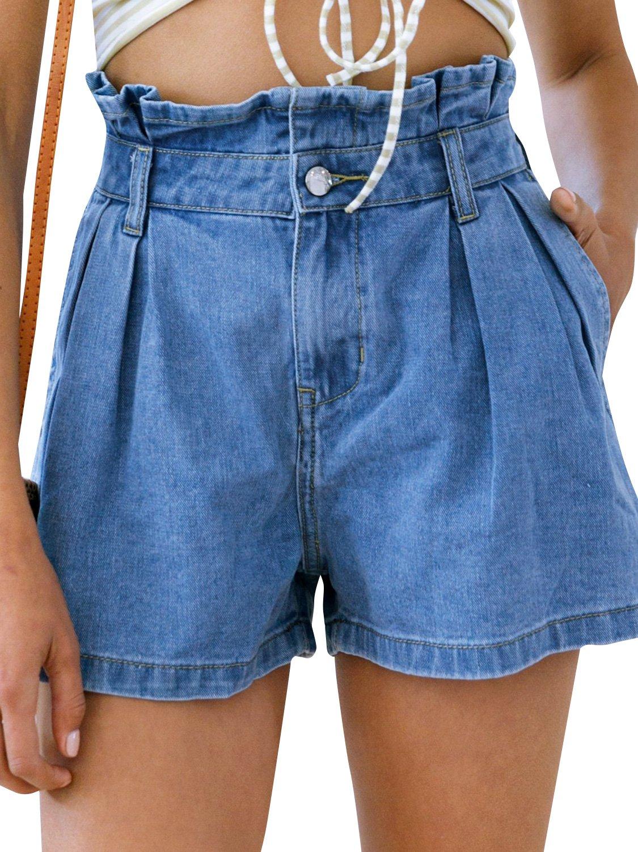 Simplee Apparel Women's High Waisted Denim Shorts Summer Casual Ruffles Shorts