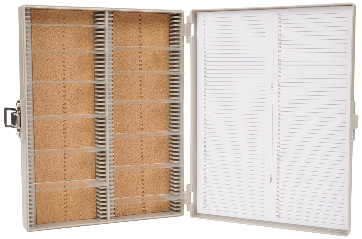 Heathrow Scientific HD15994F Microscope Slide Box, Cork Lined, 100 Place, 208 mm Length x 175 mm Width x 34 mm Height, Gray HS15994F