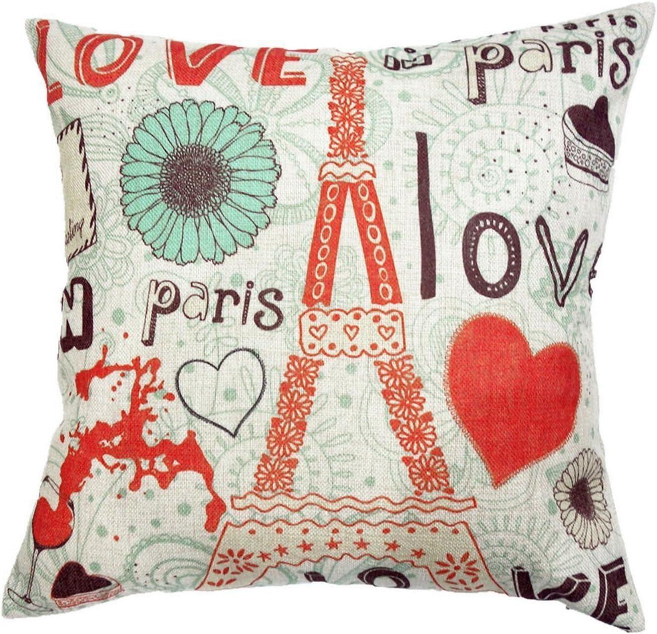 Decor MI Colourful Love Paris Pattern Cotton Square Throw Pillow Case Decorative Durable Cushion Slipcover Home Decor Standard Size Pillowcase Slip Cover 18x18 Inch