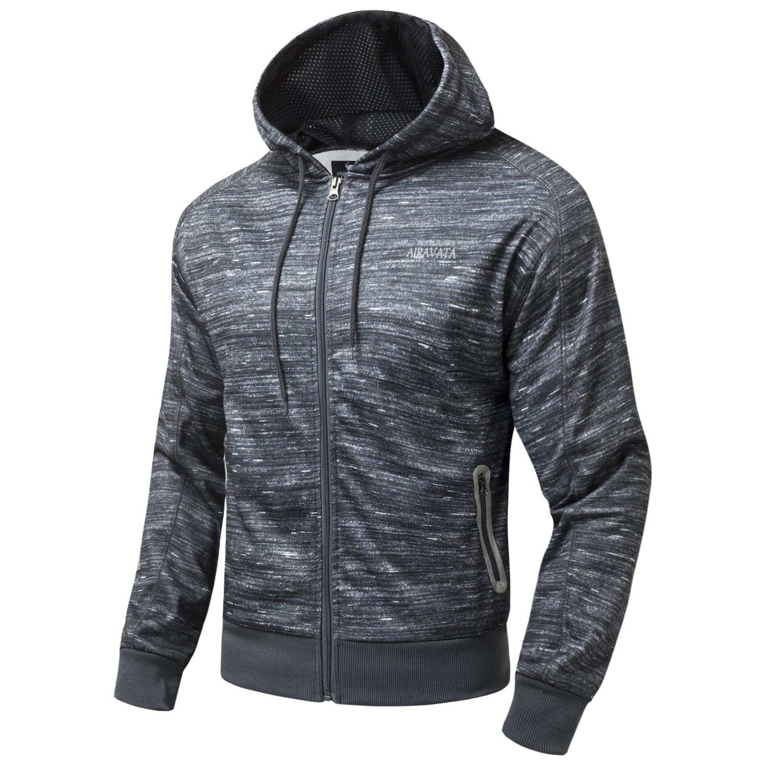 AIRAVATA Men's Hoodie Zip up Long Sleeve Printing Sports Workout Jackets