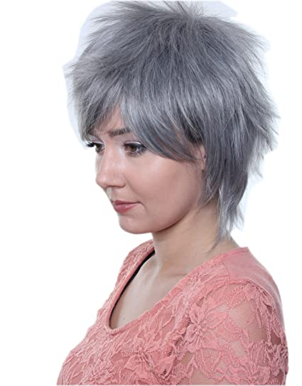 Prettyland C1590 - peluca corta estilo salvaje cobarde dio un paso fransig peluca de Cosplay -
