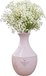 Fovasen Farmhouse French Style Country Vase Antique Pink Ceramic Vase Milk Can for Flower, Decorative Floral Vase Jug Vases for Home Decor Living Room Centerpieces, Valentines Christmas Decorations