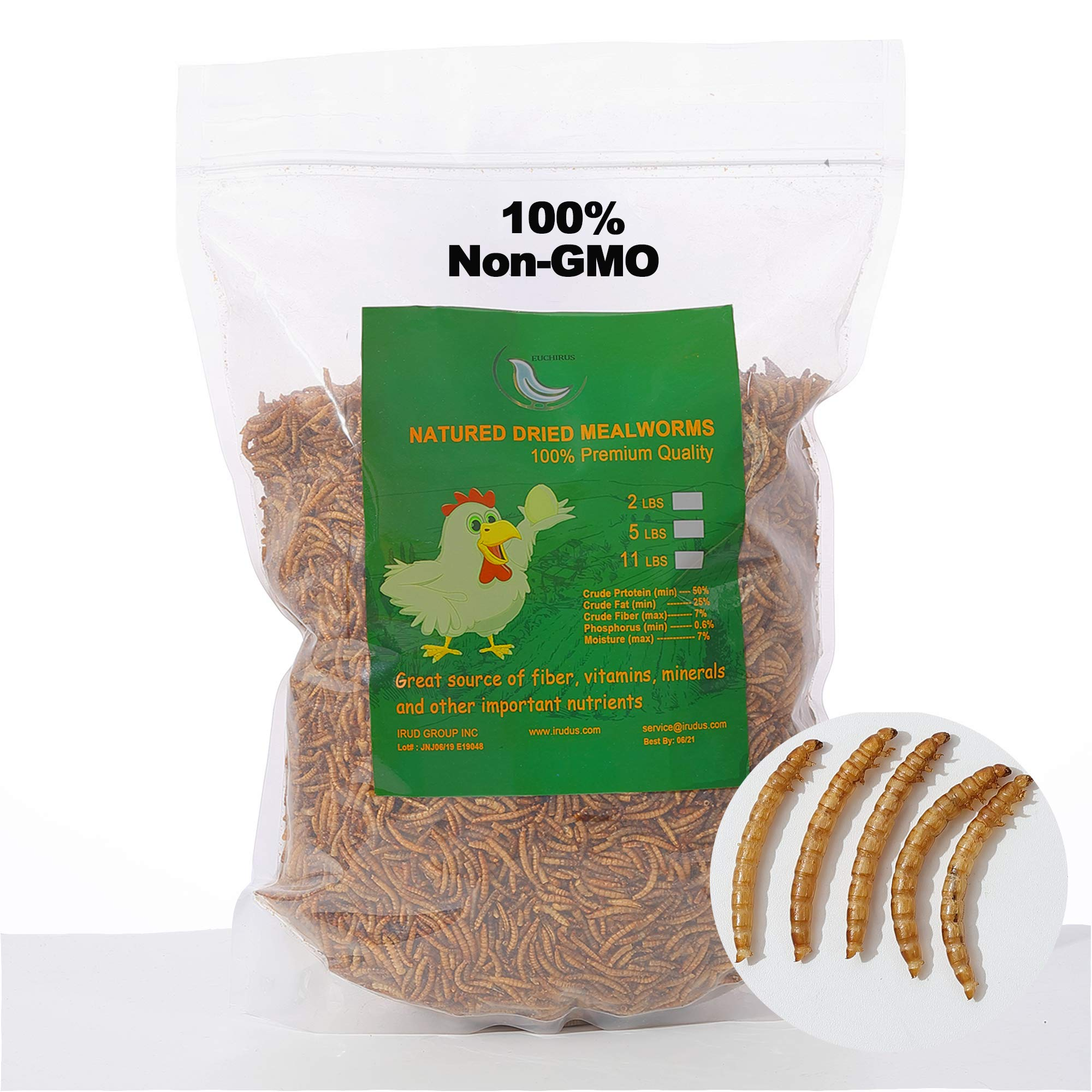 WAMSOFT Non-GMO 11lb Big Size Dried Mealworms,Proteins up to 53% ,Complete Dehydration,Perfect for Wild Bird Chicken Fish by WAMSOFT