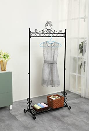chic garment rack metal hanging clothes clothing racks stand with bottom shelf for shoes black