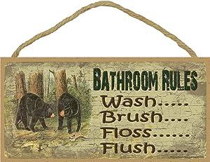 Black Bear Bathroom Rules Brush Wash Flush Floss Bath Sign Plaque Lodge Cabin 5