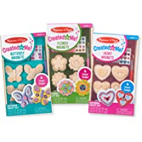 Melissa & Doug Created by Me! Paint & Decorate Your Own Wooden Magnets Craft Kit for Kids 3 Pack – Butterflies, Hearts, Flowers (4 Each Set), Multi